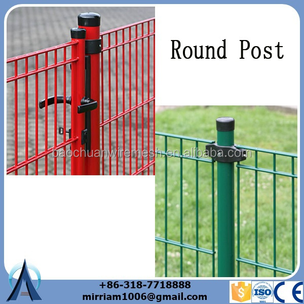 double rod wire mesh fence with Round post.jpg