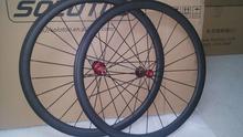 Vélo de route de carbone roues 38 mm tirer tout droit powerway R36 roulements en céramique de carbone roues
