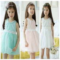 Ribbon Embroidered Ivory Lace Children Chiffon Flower Girl Dresses