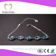 Factory direct sales 925 silver natural topaz popular womens adjustable cheap charm bracelet