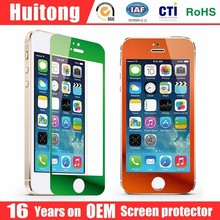 For iphone 6 4.7 plus 5.5 inch 5S Colorful 2.5D 0.3mm Tempered Glass Film Screen Protector for iPhone with Retail Package