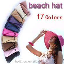 Wholesale Summer Folding Wide Brim Visor Sun Beach Straw Hats For Women