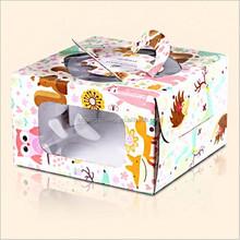 hot selling custom design food packaging paper box cake paper box with die cut handle wholesale