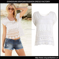 100% cotton Fancy White Lace Top For Women