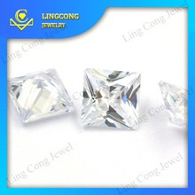 clear machine cut white synthetic diamonds princess cut