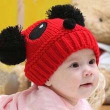 winter cute design cotton thread animal head hand WOOL kids knitting yarn hat