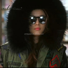 Winter warm sleeveless coats real raccoon fur collar waistcoat faux fur liner vest