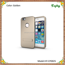 Factory Wholesale Golden 3 in 1 Strong Box TPU + PC Hybrid Combo Cover For iphone 6 Plus Stand Case