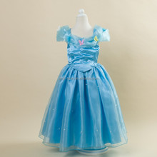 2015 new styles cinderella costume princess dress girls fancy outfit party long dress