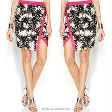 latest design ladies floral printed plain color trim short pencil skirt