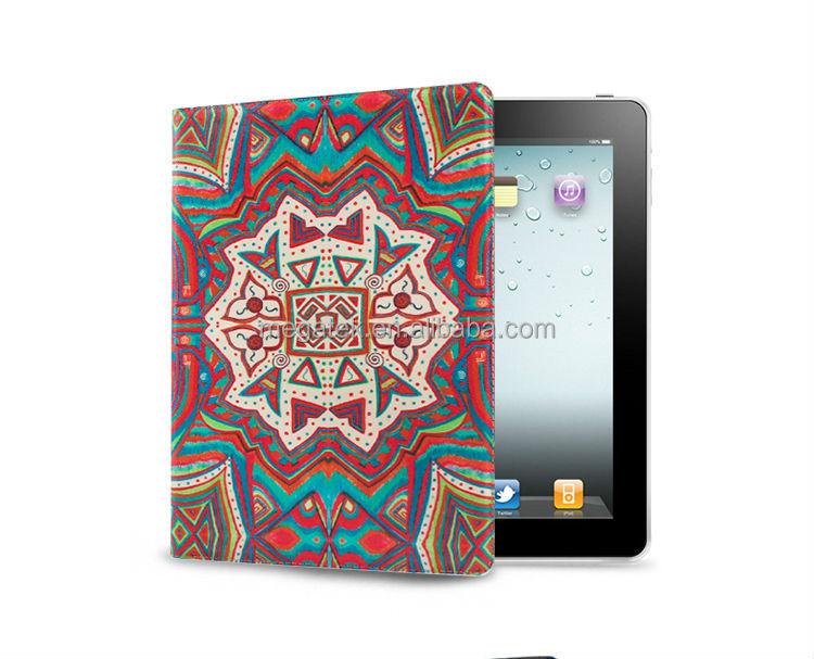 Super slim fit Fashion print folio leather case for ipad , for ipad case leather folio
