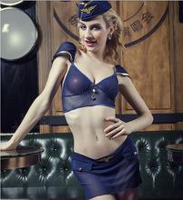 Europa al por mayor sexy ropa interior de la tentación uniforme azafata sexy traje