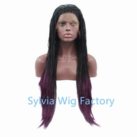 Wholesale ombre purple black ombre wig dark root wig Synthetic micro box braid Lace Front Wig For African American Black Woman