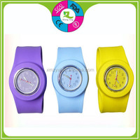 Custom Design for Christmas and New Year Business Promotional item/color ful Silicone slap strap watches/wrist watch