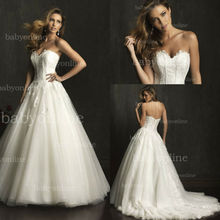 AB 9052 apliques de encaje balón vestido de novia precioso grano cristalino organza vestido de novia