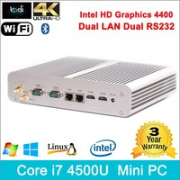 Small size new design latest computer models i7 processor 4K HD 2 LAN 2 RS232 2 HDMI 2antennas Bluetooth 3.0 mini computer