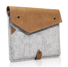 Boshiho Simple Style Wool Felt & genuine leather sleeve Case For apple ipad air 2 bags For 9.7 inch Tablet