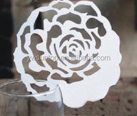 party decoration Elegant Rose Shaped Design Laser Cut Place Card wedding favors