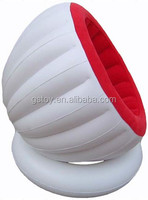 PVC red and white noble comfortable single inflatable best self half-egg chair