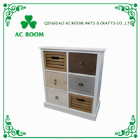 AC ROOM 4/6 drawers Paulownia white painting wooden cabinet