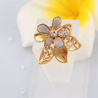 Women deluxe styles flower shape fashion gold jewelry rings have spot wholesale support small orders