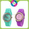 Hot Sale Waterproof Crystal Silicone Bracelet Quartz Watch