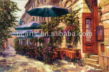 Hot sale street painting, Sunny Cafe Decor Painting, OEM factory