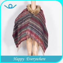 Striped fur pashmina shawl