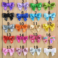 Wholesale Mini Sequin Bow Applique Embroideried Sequin Fabric Bows DIY Baby Headbands Boutique Hair Accessories Latest Fashion