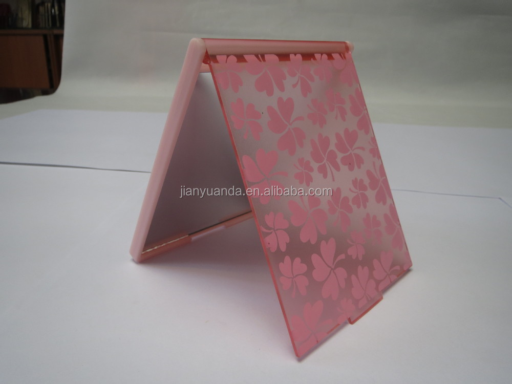 Square fashion bling mirror stand up plastic flexible for Small stand up mirror