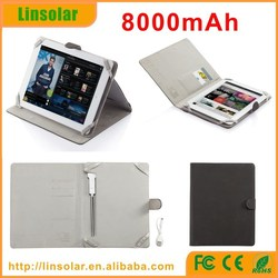 Best quality flip cover case with power bank 8000mAh for ipad and tablet