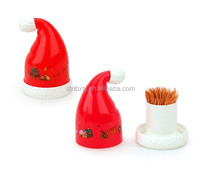 Gift Cartoon Plastic Toothpick Bottle Christmas Hat Type Toothpick Holder