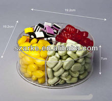 clear round acrylic/plastic candy/pandora bead storage tray dividers with 4 compartments
