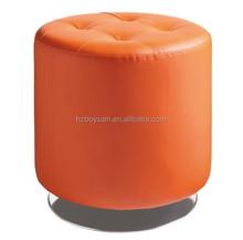 Round Stool Ottoman Orange Metal Legs Round Footstool