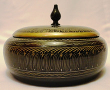 Wooden Candy jar, Wooden Handicrafts, wooden jar with lacquer artwork