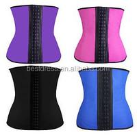 hot Women Sport Waist Cincher Steel Boned Latex Corset Underbust Rubber Waist Shapewear