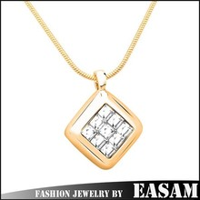 2015 New arrivel simple square pendant necklace with crystal Valentine's day gifts