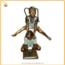 Outdoor Sporting Bronze Children Sculpture Two Girls Playing Leapfrog For Sale