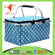 Foldable Insulated Cooler Picnic Basket Bag (blue) with Double Handles/large size cooler basket bag