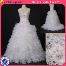 sweetness crystals beading organza frill edge wedding dresses ball gown cocktail dress