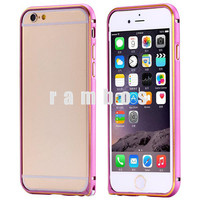 Luxury Dual Color Fashion Metal Bumper Frame Mobile Phone Case for iPhone 6 4.7 with Side Aluminum Button