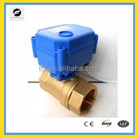 "1/4"" to 1"" Mini Brass Flow Control Motorized Ball Valve 2 Wires 2 Way"