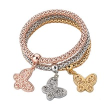 2015 new products butterfly chain gold bracelet in yiwu market