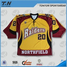 minor league 100% polyester hockey jerseys digital printing