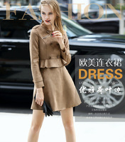 Female coat Double-breasted winter national Fashion Trench women leather Coatwind in Europe and the biggest women's trench coat