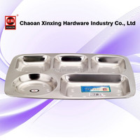 2015 new design stainless steel 5 compartment plate
