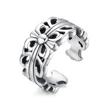 Wholesale biker jewelry stainless steel unique Cross Flower Fleur de Lis for men cuff ring