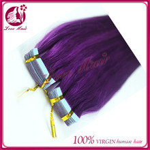 Very convenience skin weft hair extensions china 100 percent brazilian remy human tape hair unique purple color