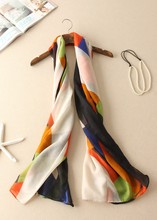 Paris Yarn Colored Squares Print Contrast Color Scarf Shawl With Sunblock