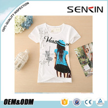 teen girls t shirts 100% organic cotton fabric tees in Guangzhou China